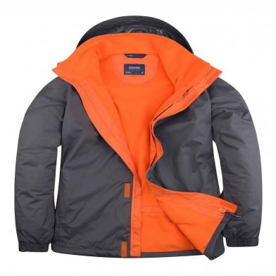 Deluxe Outdoor Jacket  In Deep Grey / Fiery Orange