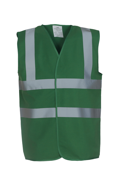 Hi-vis 2-band-and-braces Waistcoat (HVW100) In Paramedic Green