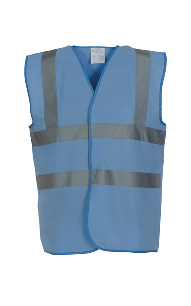 Hi-vis 2-band-and-braces Waistcoat (HVW100) In Sky Blue