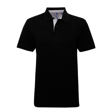 Cotton Polo With Oxford Fabric Insert In Black/Charcoal