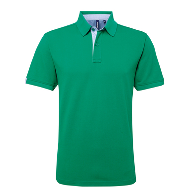 Cotton Polo With Oxford Fabric Insert In Kelly/Sky