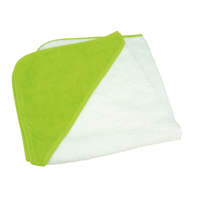 ARTG Babiezz Medium Baby Hooded Towel In White/Lime Green/Lime Green