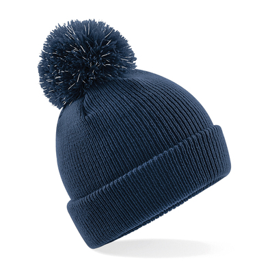 Junior Reflective Bobble Beanie In French Navy