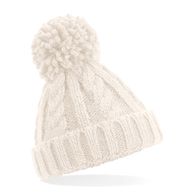 Infant/junior Cable Knit Melange Beanie In Oatmeal