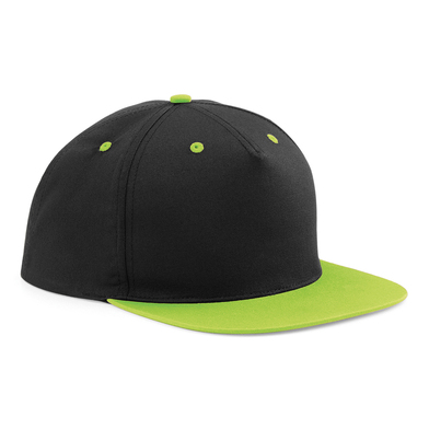 5-panel Contrast Snapback In Black/Lime Green