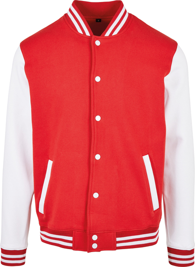 Basic College Jacket In Red/White
