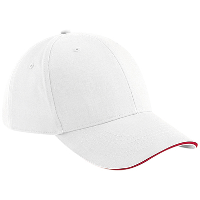 Athleisure 6-panel Cap In White/Classic Red