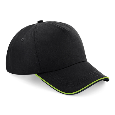 Authentic 5-panel Cap - Piped Peak In Black/Lime Green