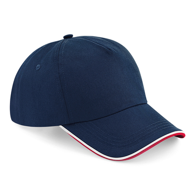 Authentic 5-panel Cap - Piped Peak In French Navy/Classic Red/White