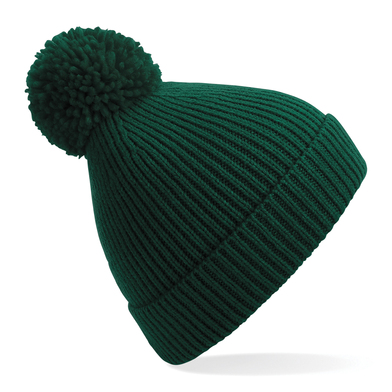 Engineered Knit Ribbed Pom Pom Beanie In Bottle Green