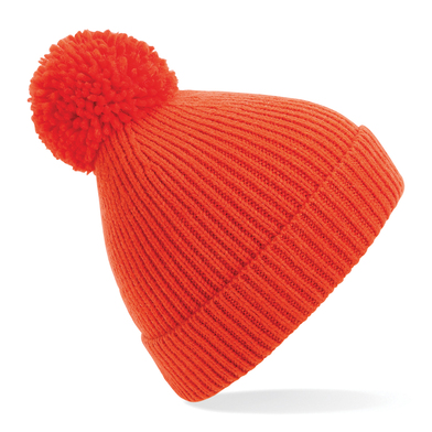 Engineered Knit Ribbed Pom Pom Beanie In Fire Red