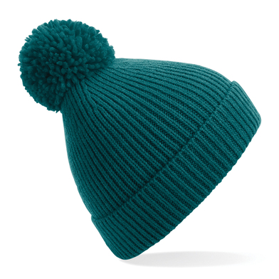 Engineered Knit Ribbed Pom Pom Beanie In Ocean Green