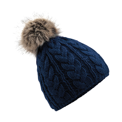 Fur Pop Pom Cable Beanie In Navy