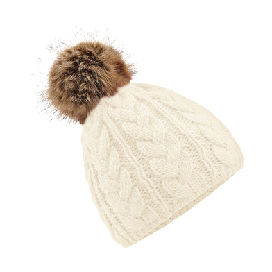 Fur Pop Pom Cable Beanie In Off White
