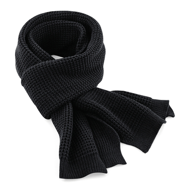 Classic Waffle Knit Scarf In Black
