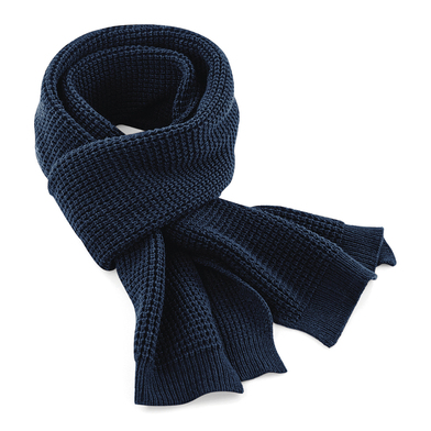 Classic Waffle Knit Scarf In French Navy