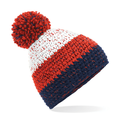 Freestyle Beanie In White/Fire Red/Oxford Navy