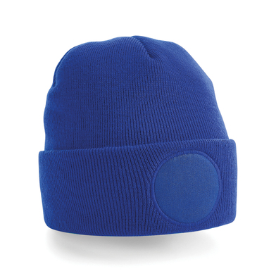 Circular Patch Beanie In Bright Royal