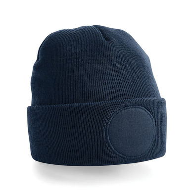 Circular Patch Beanie In French Navy
