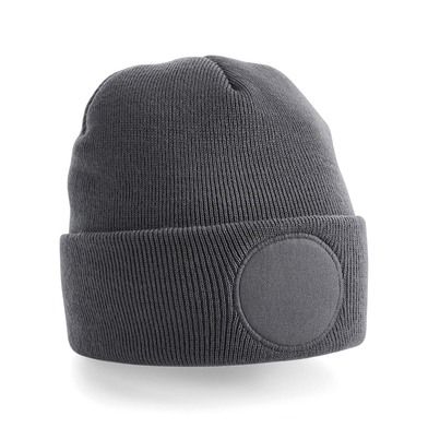 Circular Patch Beanie In Graphite Grey
