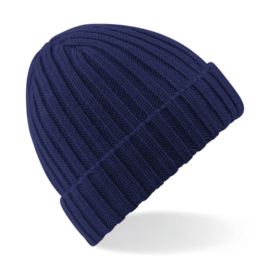Chunky Ribbed Beanie In Oxford Navy
