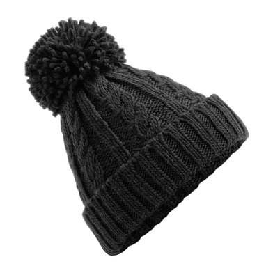 Cable Knit Melange Beanie In Black