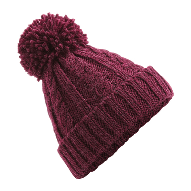 Cable Knit Melange Beanie In Burgundy