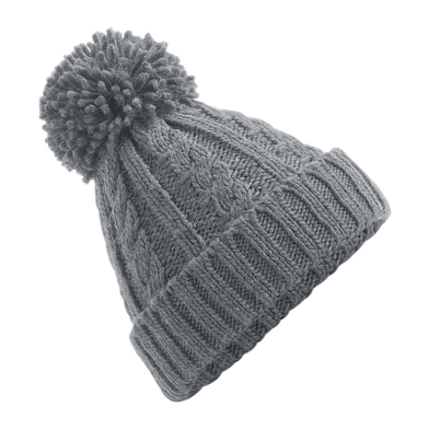 Cable Knit Melange Beanie In Light Grey