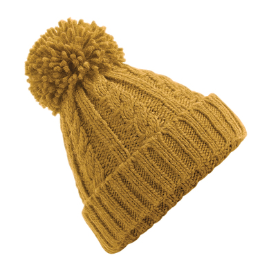 Cable Knit Melange Beanie In Mustard