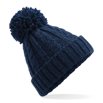 Cable Knit Melange Beanie In Navy