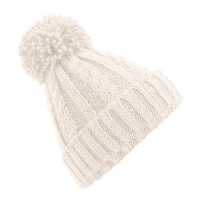 Cable Knit Melange Beanie In Oatmeal