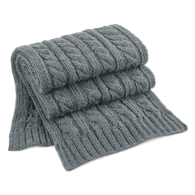 Cable Knit Melange Scarf In Light Grey