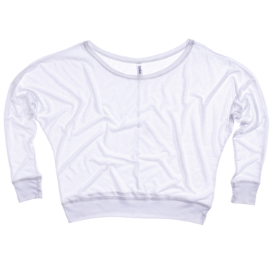 Flowy Off-the-shoulder Long Sleeve T-shirt In White