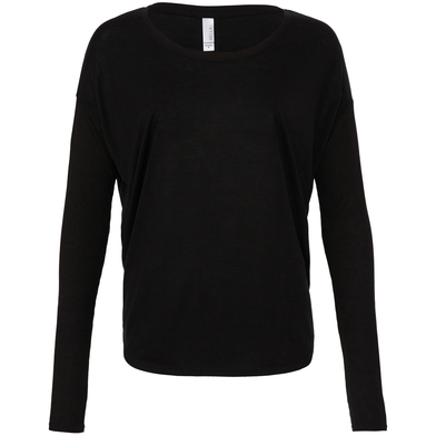 Flowy Long Sleeve T-shirt With 2x1 Sleeves In Black