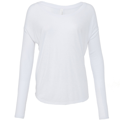 Flowy Long Sleeve T-shirt With 2x1 Sleeves In White