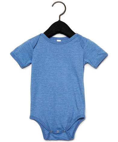 Baby Jersey Short Sleeve One Piece In Heather Columbia Blue