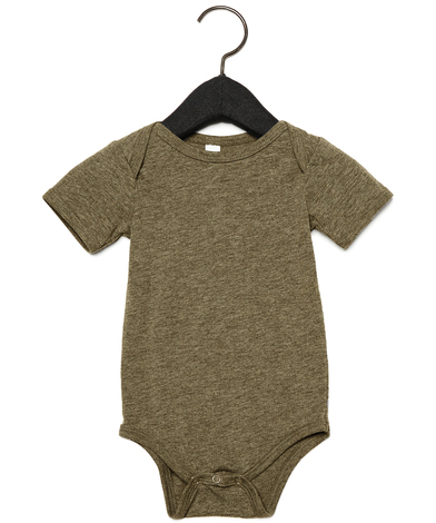 Baby Triblend Short Sleeve One Piece In Olive Triblend