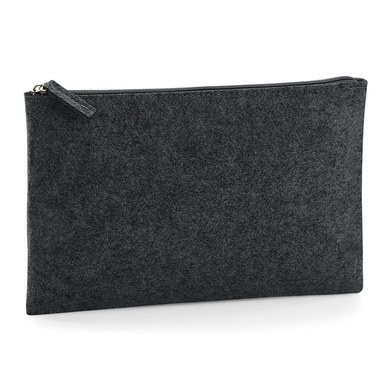 Felt Accessory Pouch In Charcoal Melange