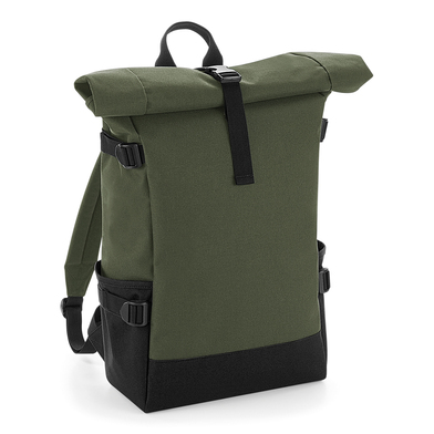 Block Roll-top Backpack In Olive Green/Black