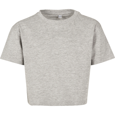 Girls Cropped Jersey Tee In Heather Grey