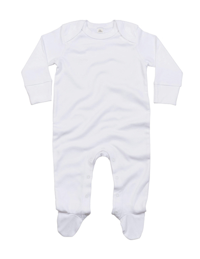 Baby Organic Envelope Sleepsuit With Mitts In Organic White