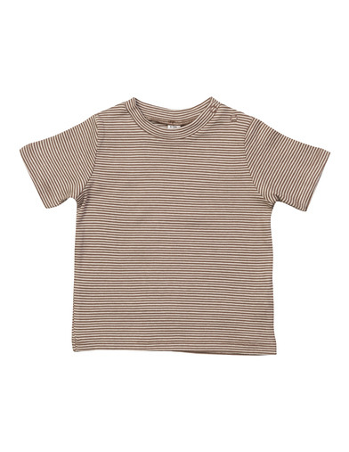 Baby Stripy T In Organic Natural/ Mocha
