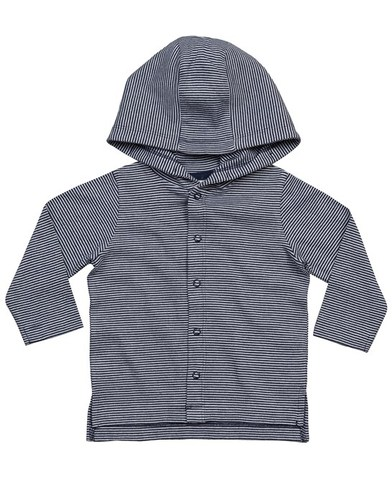 Baby Stripy Hooded T In Organic White / Nautical Navy