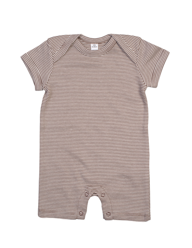 Baby Striped Playsuit In Organic Natural/ Mocha