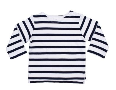 Baby Breton Top In Organic White / Nautical Navy