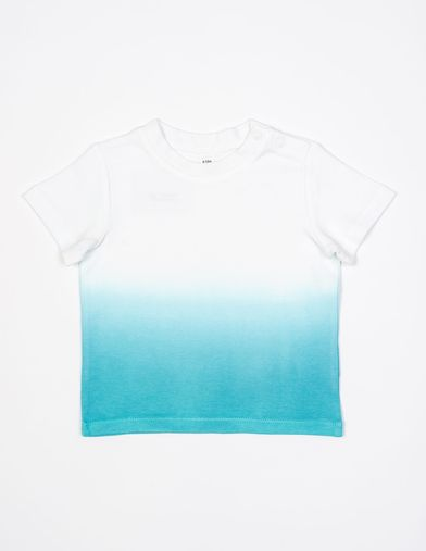 Baby Dips T In Organic White/ Surf Blue