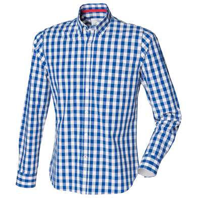 Checked Cotton Shirt In Blue Check