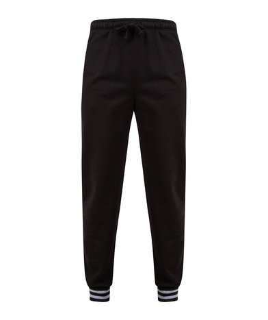 Joggers With Striped Cuffs In Black/Heather Grey