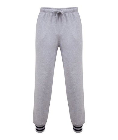 Joggers With Striped Cuffs In Heather Grey/Navy
