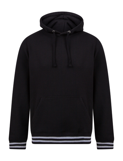 Hoodie With Striped Cuffs In Black/Heather Grey